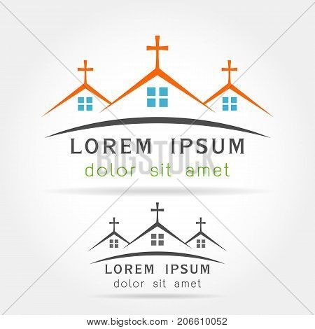 Template logo church as the church building on white background . Church house logo