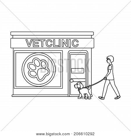 Visiting the vet clinic, the pet, dog on a leash with the hostess. Pet, dog care single icon in outline style vector symbol stock illustration .