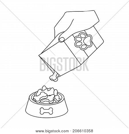 Feeding a pet, feed in a bowl. Pet, dog care single icon in outline style vector symbol stock illustration .