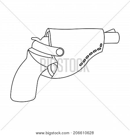 Pistol in the holster, firearms. Pistol detective single icon in outline style vector symbol stock illustration .