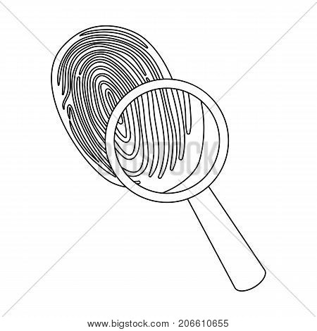 Investigation by fingerprint magnifier, crime. Loupe is a detective tool, single icon in outline style vector symbol stock illustration .