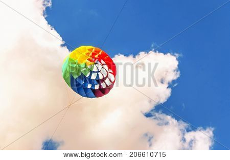 Colorful Kite Free To Fly In The Clear Sky,