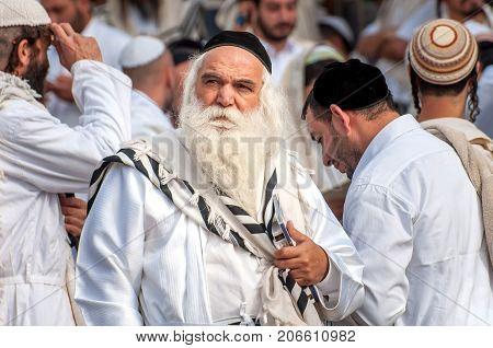 Aged Hasid Pilgrim In The Crowd On The City Street. Uman, Ukraine - 21 September 2017: Holiday Rosh