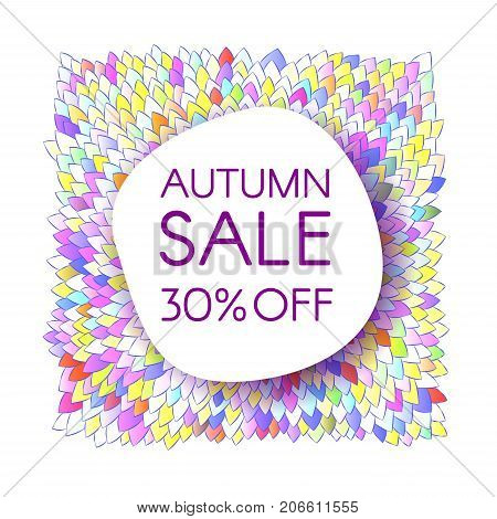 Autumn sale banner with a bunch of bright saturated leaves. Creative design templates