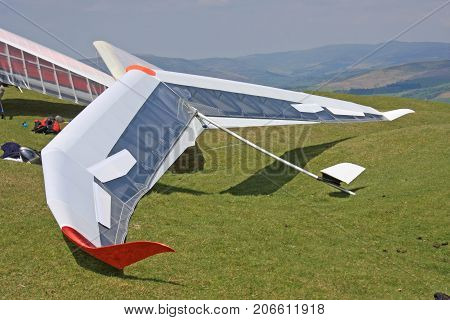 Hang Gliders prepared to fly on the Blorenge, Wales