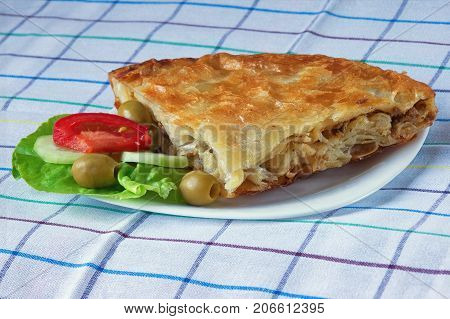 Burek with meat - national dish popular in the Balkans