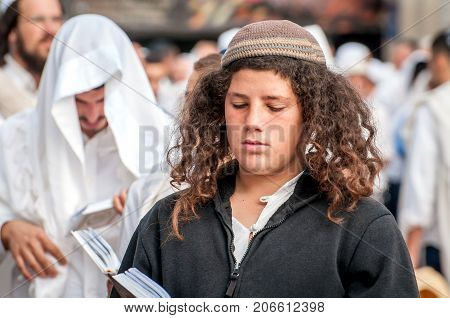 Young Hasid Pilgrim In The Crowd On The City Street. Uman, Ukraine - 21 September 2017: Holiday Rosh