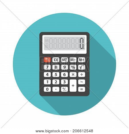 Calculator circle icon with long shadow. Flat design style. Calculator simple silhouette. Modern minimalist round icon in stylish colors. Web site page and mobile app design vector element.