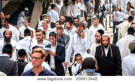 Hasids pilgrims in traditional clothes. Uman Ukraine - September 21 2017: Rosh hashanah holiday Jewish New Year.