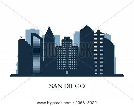 San Diego skyline monochrome silhouette. Vector illustration.
