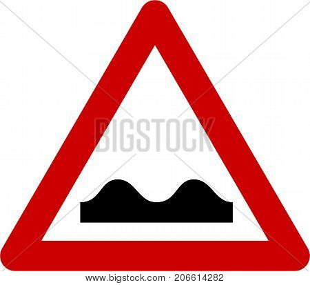 Warning sign with road bumps symbol on white background
