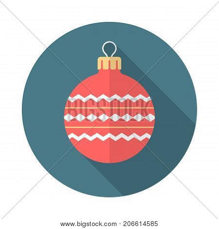 Christmas ball circle icon with long shadow. Flat design style. Christmas ball simple silhouette. Modern minimalist round icon in stylish colors. Web site page and mobile app design vector element.