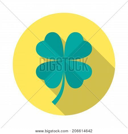 Four leaf clover circle icon with long shadow. Flat design style. Clover simple silhouette. Modern minimalist round icon in stylish colors. Web site page and mobile app design vector element.