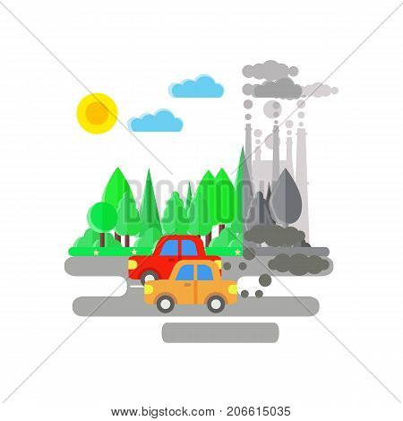 Ecology problem concept. Cars and factories pollute the enviroment. Car and plant emitting smoke. Flat vector illustrarion of air pollution. Pollution clouds.