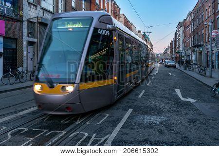 Dublin, Ireland - 14 Jan 2017: Luas tram rail system in Dublin, Ireland. It is a major part of the National Transport