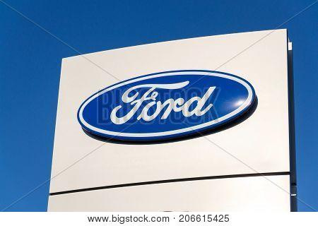Prague, Czech Republic - September 29: Ford Motor Company Logo On Dealership Building On September 2