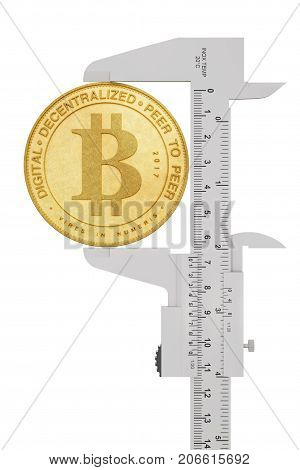 Digital and Cryptocurrency Concept. Vernier Calliper with Golden Bitcoin on a white background. 3d Rendering