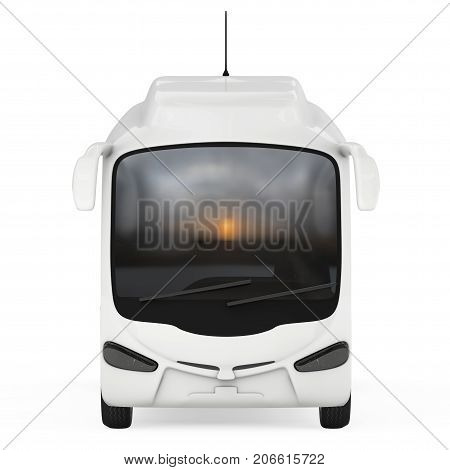 Big White Coach Tour Bus on a white background. 3d Rendering