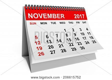 2017 year calendar. November calendar on a white background. 3d rendering