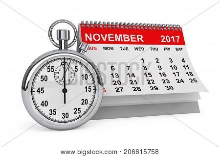 2017 year calendar. November calendar with stopwatch on a white background. 3d rendering