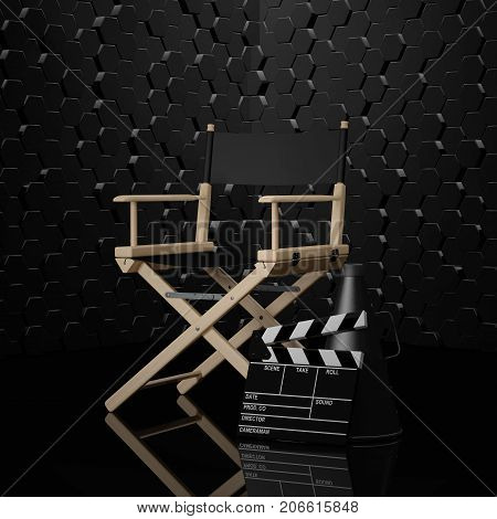 Cinema Industry Concept. Director Chair Movie Clapper and Megaphone on a black background. 3d Rendering