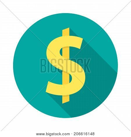 American dollar circle icon with long shadow. Flat design style. Dollar simple silhouette. Modern minimalist round icon in stylish colors. Web site page and mobile app design vector element.