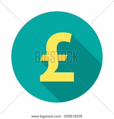 Pound sterling circle icon with long shadow. Flat design style. Pound sterling simple silhouette. Modern minimalist round icon in stylish colors. Web site page and mobile app design vector element.