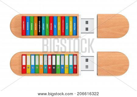 School Books and Colorful Office Folders in USB Flash Drives on a white background. 3d Rendering