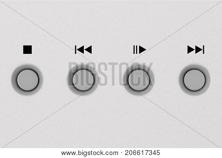 CD or DVD Metal Control Knobs on Aluminum Panel extreme closeup. 3d Rendering