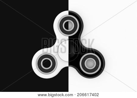 Fidget Finger Spinner Antistress Toy on a white and black background. 3d Rendering
