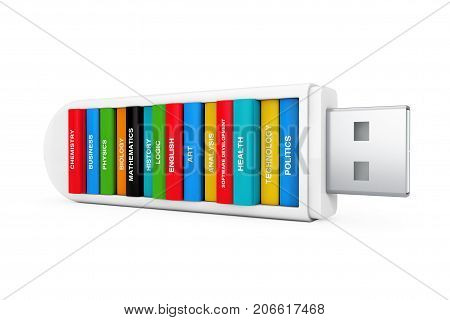 Computer Education Concept. School Books in USB Flash Drive on a white background. 3d Rendering