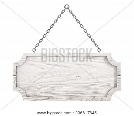 Wooden Sign with Blank Space for Yours Design Hanging on a Chain on a white background. 3d Rendering