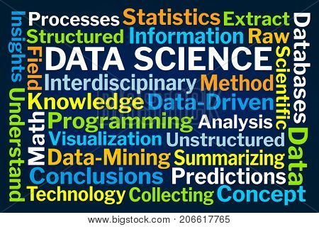 Data Science Word Cloud on Blue Background