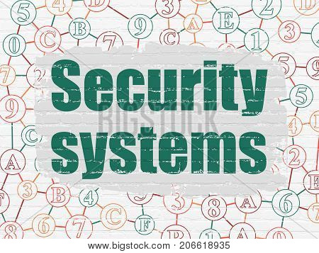 Security concept: Painted green text Security Systems on White Brick wall background with Scheme Of Hexadecimal Code