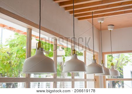 Beautiful lamp in cafe Interior concept .