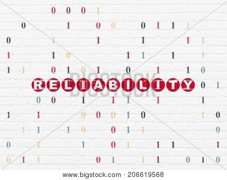 Finance concept: Painted red text Reliability on White Brick wall background with Binary Code