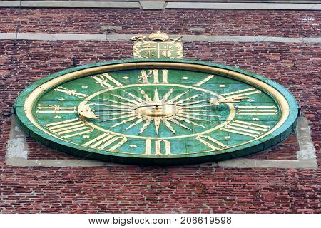 KRAKOW, POLAND - JUNE, 2012: Close up old clock on Wawel tower