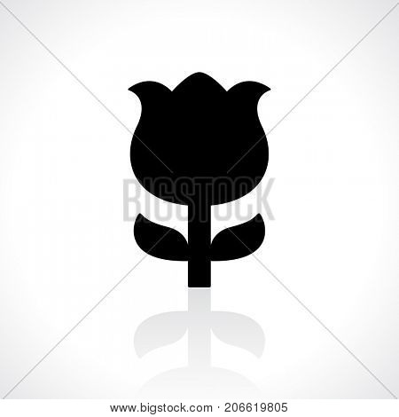Black flower icon with reflection on gray background