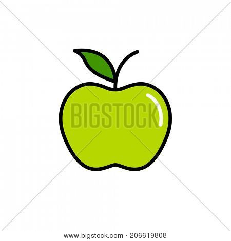 Green apple vector icon isolated on white background