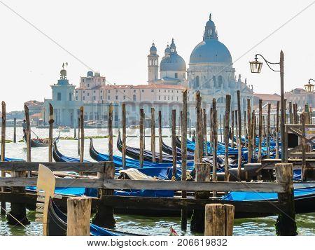 VENICE, ITALY - SEPTEMBER 3, 2013: Gondolas moored in the Venetian lagoon and Basilica di Santa Maria della Salute in the background. Venice, Italy