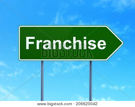 Business concept: Franchise on green road highway sign, clear blue sky background, 3D rendering