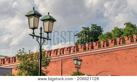 Lantern on the red square near the Kremlin in Moscow. World sight.