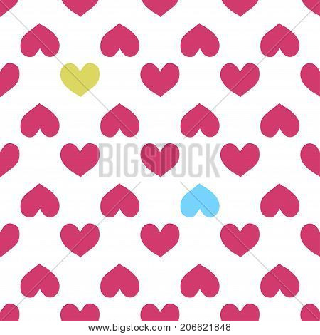 Fun seamless heart background. Valentine s Day Mother s Day Easter wedding scrapbook gift wrapping paper textiles. Vector Illustration
