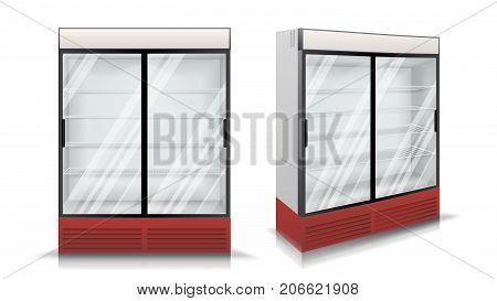 Refrigerator Realistic Vector. Modern vertical Fridge. Front Panel. Two Glass Sliding Doors. Isolated Illustration