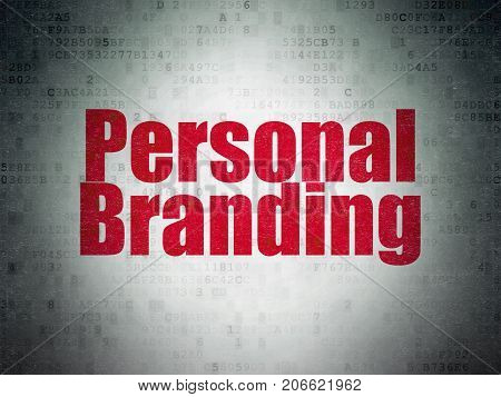 Marketing concept: Painted red word Personal Branding on Digital Data Paper background