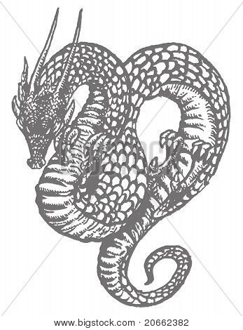 Oriental Dragon Old-style Ink Drawing