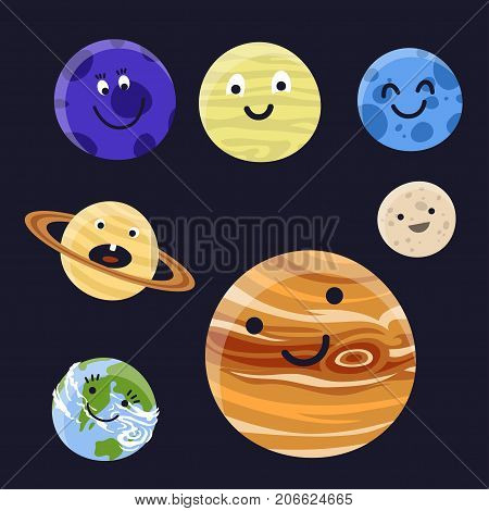 High quality solar system space planets flat vector illustration. Universe astronomy galaxy science star symbol. Globe world fantasy saturn astrology scientific icon.