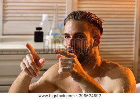 Sex And Erotica Concept: Guy In Bathroom With Involved Look