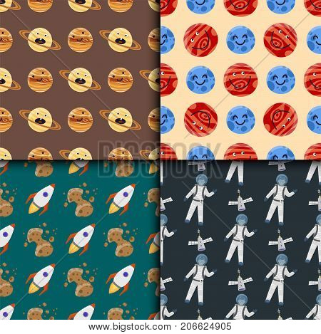 High quality space planets flat vector illustration. Universe astronomy galaxy science star background. Globe world fantasy saturn astrology scientific seamless pattern.