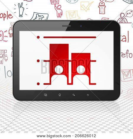 Political concept: Tablet Computer with  red Election icon on display,  Hand Drawn Politics Icons background, 3D rendering